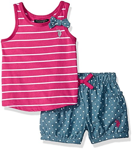 U.S. Polo Assn. Girls' Toddler Fashion Top and Short Set, Bubble Bottom Fuchsia, - Bubble Shorts
