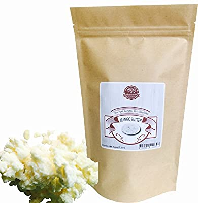 Mango Butter 1 LB by Oslove Organics -Pure, Natural, Hand -packed, Fresh and Fluffy in DIY mixes, Extra emolliency for lotions and creams. from Oslove Organics