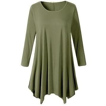 4cbdae6c335 Amazon.com  Clearance Deals Irregular Hem Dress Fashion Women Plus Size  Long Sleeve O-Neck Dress Loose Mini Dress by ZYooh (Khaki