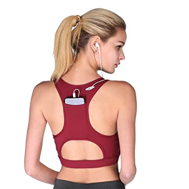 a45d9a55a MATCHANT Women s High Impact Back Pocket Running Padded Yoga Bra Sports Bra  Racerback Activewear Bras at Amazon Women s Clothing store