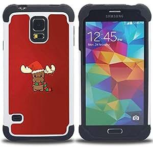 - reindeer Christmas winter red cute/ H??brido 3in1 Deluxe Impreso duro Soft Alto Impacto caja de la armadura Defender - SHIMIN CAO - For Samsung Galaxy S5 I9600 G9009 G9008V
