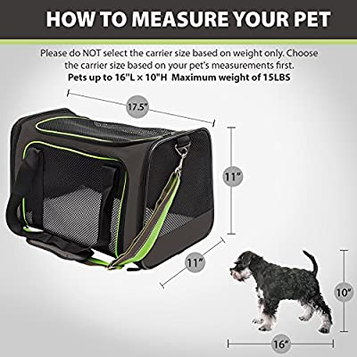 Pet Carrier Compatible Dog and Cats, Airline Approved Bag, Travel Collapsible for Small Puppy Up to 15lbs, Soft Side Dog Crate, Portable Kennel for Puppies, Newest Color (Brown+Green)