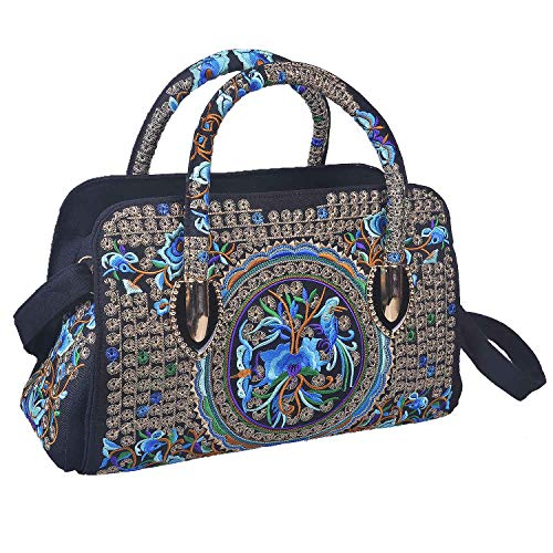(Larcenciel Embroidery Handbag Ethnic Style Floral Big Messenger Bag Crossbody Canvas Shoulder Tote Zipper Travel Shopping Pouch (2))