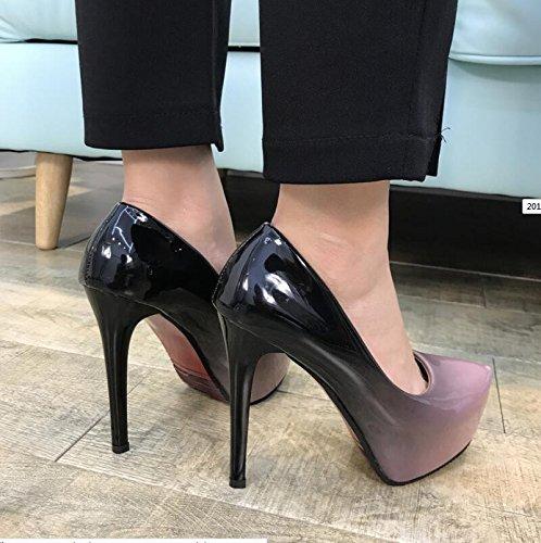 KHSKX-El Nuevo Single Zapatos Otoño E Invierno El Nuevo Single Zapatos Luz Está Bien Con Zapatos De Mujer De Cabeza Redonda High-Heeled Pro 36 37