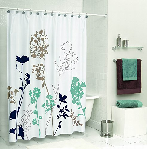 Uphome 72 x 72 inch royal blue brown and teal dandelion for Kids shower curtain sets