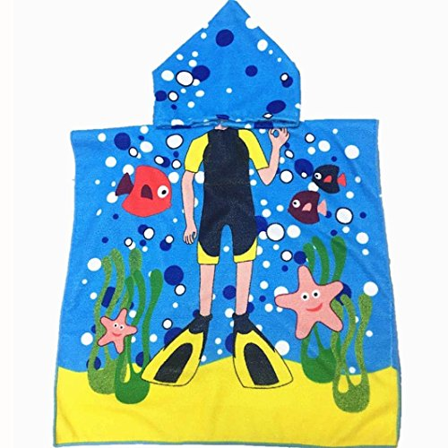 Hatop Hooded Towel for Kids Toddlers Bath Wrap Beach Poncho with Hood Robe Baby (Blue)