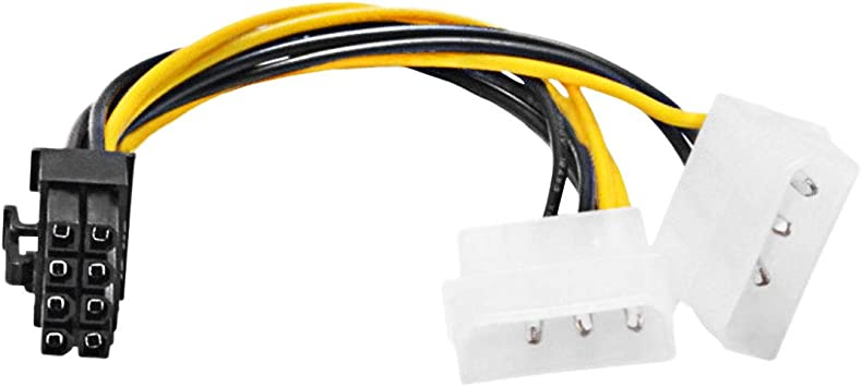 1x Dual 4 Pin Molex IDE to 8Pin PCI Express Video Card Power PCI-E Adapter Cable