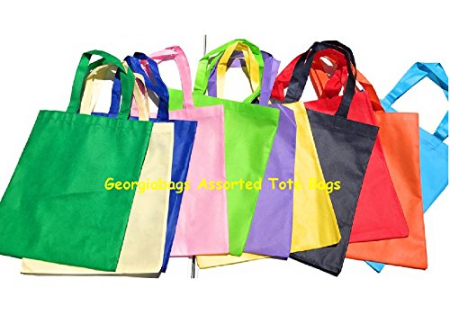 Bulk Deal! Promotional Cheap Tote Bags, Non-Woven Standard Size Bags (ASSORTED) (24)