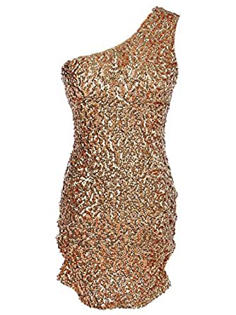 Anna-Kaci S/M Fit Dripping in Gold One Shoulder Shimmering Sequins BodyCon Dress