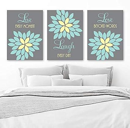 Amazon.com: Live Laugh Love Wall Art Canvas or Prints Gray Aqua ...