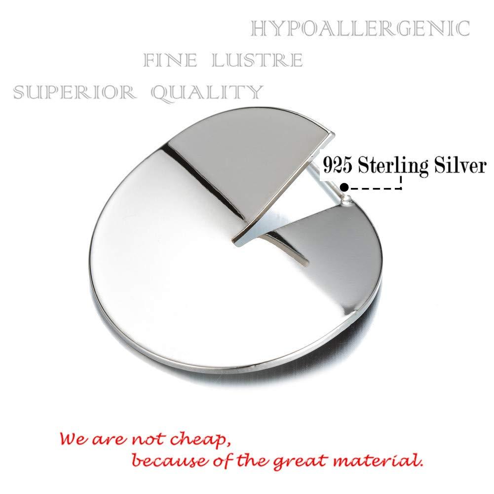 Fashion Jewelry Gift Minimalist Geometric Round silver Earrings for Women,Mirrored Sterling Silver Earring