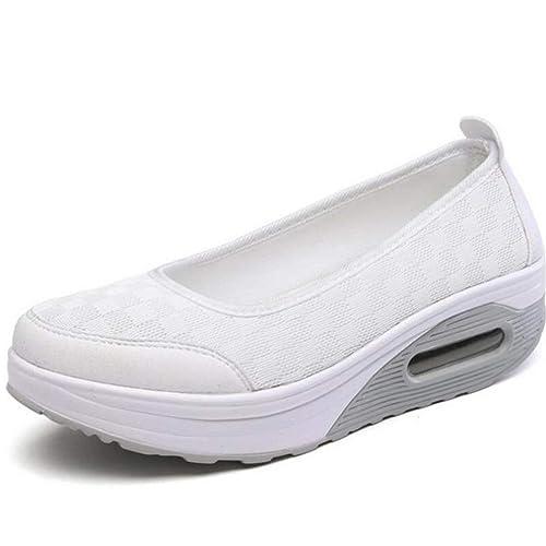 Mujeres Malla Zapatos Transpirable Zapatos de Mujer Gruesas Casual Confort Tacones Bajos Mocasines Mujeres Zapatos de Enfermera: Amazon.es: Zapatos y ...