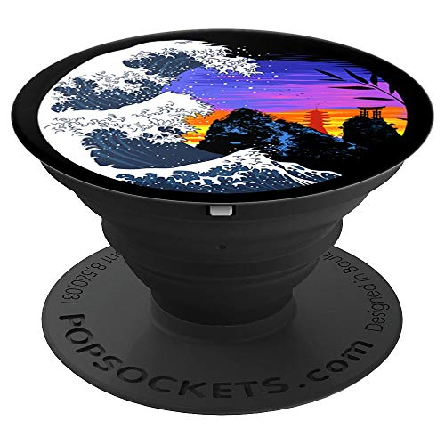 Wave mountains sunset temple torii japanese PopSockets Grip and Stand for Phones and - Temple Mountain