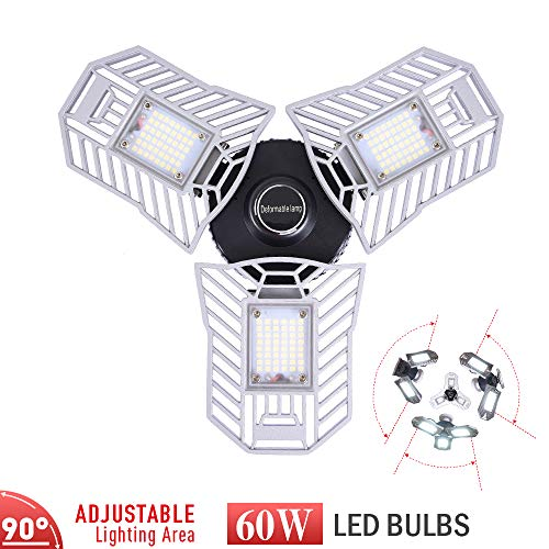 BringLED Garage Lighting,E26/6000LM/deformable,Led Garage Ceiling Lights,led Garage Lights,Garage Light Bulb,led Bulb for Garage,led Shop Light,Workshop Light (Daylight, 60wStandard)