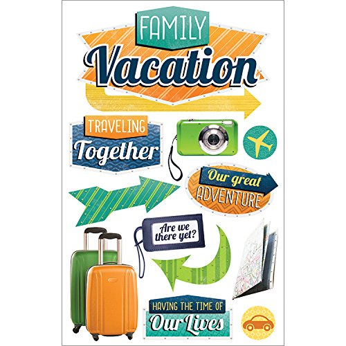 Paper House Productions STDM-0234E 3D Cardstock Stickers, Family Vacation (Vacations Cardstock Stickers)