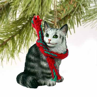 Maine Coon Cat Tiny Miniature One Christmas Ornament Silver - DELIGHTFUL!