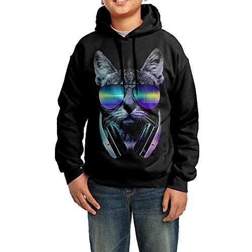 Funny Black Hoodies Night Cat Dj Sweatshirts For Boy's ()