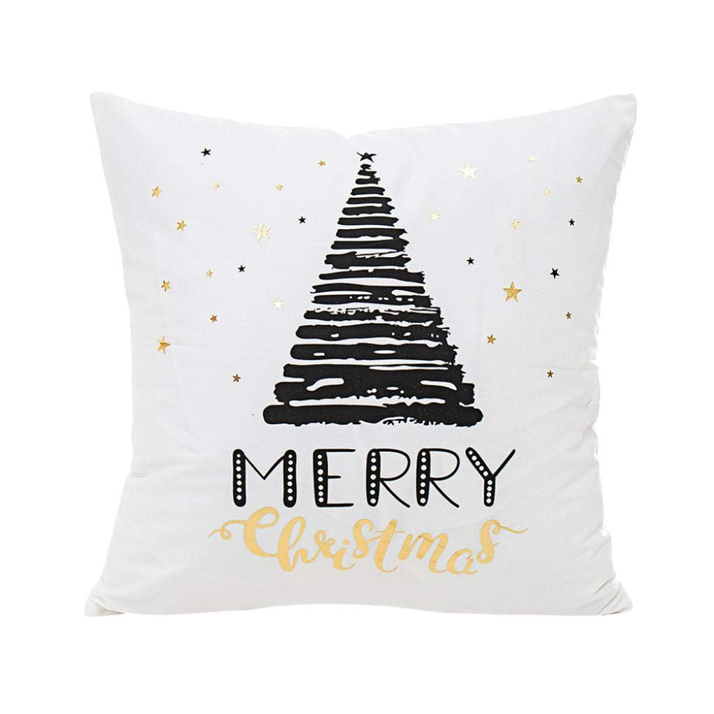 Iuhan Christmas Throw Pillow Case Cushion Cover for Kids, Clearance Decorative Throw Pillows Case Merry Christmas Gold Foil Printing Cushion Covers Pillowcases 18 X 18 Inches (A) Iuhan ®