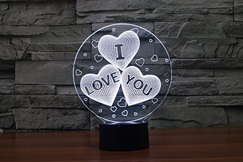 3 hearts USB touch Night Lights 3d desk Lamps 7 color changing LED Table Lamps home decor customized lover's Gift (Ideas For Costumes For Couples)