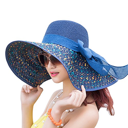 Itopfox Women's Folable Floppy Hat Big Bowknot Straw Hat Wide Brim Beach 50+ UPF Sun Hat (Women Hats Brim For Big)