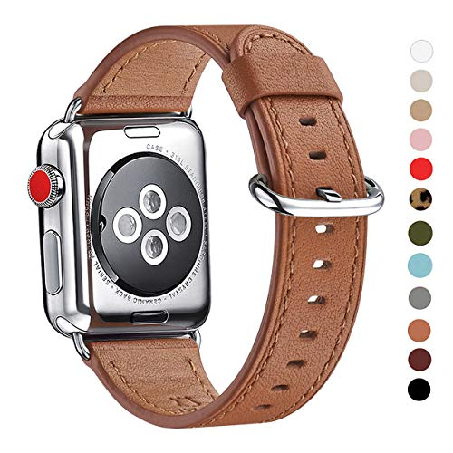 (WFEAGL Compatible iWatch Band 38mm 40mm 42mm 44mm, Top Grain Leather Bands of Many Colors for iWatch Series 4,Series 3,Series 2,Series 1 (Brown Band+Silver Adapter, 38mm 40mm))