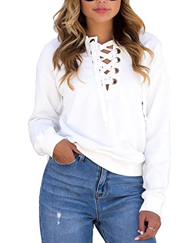 OURS Women's Casual Front Lace up V Neck Long Sleeve Tee Shirt Blouse Tops (M, White) (Lace Up Front Shirt)