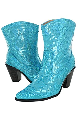 Helens Coeur Helens Coeur Femmes Sparkle Sequin Bling Court Western Cowgirl Bottes Couleurs Assorties Turquoise