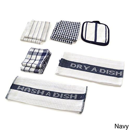 Home Basics Utility 17-piece Kitchen/ Navy Dish Towel Set plus BergHOFF Green Ceramic and Stainless Steel 6-piece Roasting Set (Bundle Set 7)