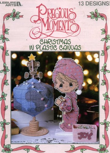 Precious Moments Christmas in Plastic Canvas (Nativity, Coaster Set, Girl and Boy Tissue Box Covers, Table Decoration, Wall Hanging, Drummer Doorstop, Ornaments, Wreath, Basket Decoration and Candy Box)