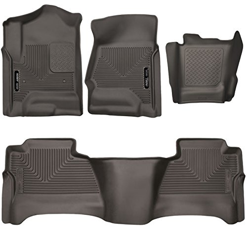 Husky Liners 53110-53150-53210 X-act Contour Cocoa Front Rear and Center Hump Floor Mats For 2014-2018 Chevy Silverado 1500 GMC Sierra 1500 Crew Cab | 2015-2018 Silverado Sierra 2500 3500 Crew Cab