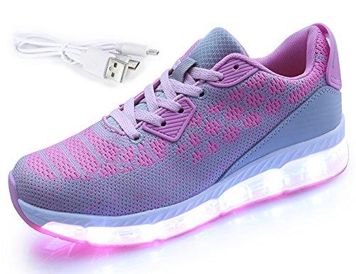 Mr.Ang 7 Farben LED Schuhe USB Aufladen Leuchtschuhe Licht Blinkschuhe Leuchtende Sport Sneaker Light Up Turnschuhe Damen Herren Kinder 1708 Grau Pink