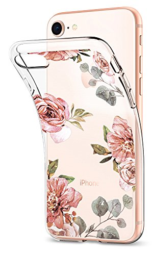 Spigen Liquid Crystal iPhone 8 Case/iPhone 7 Case with Slim Protection and Premium TPU for Apple iPhone 8 (2017) / iPhone 7 (2016) - Aquarelle Rose