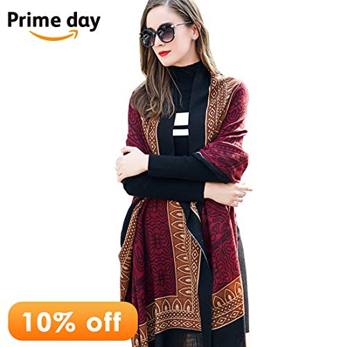 DANA XU Pure Wool Women Scarf Large Size Ponchos Pashmina Shawls and Wraps (Reddish Brown) (Fine Wool Shawl)
