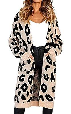 Oops Style Women's Cardigan Sweater Long Sleeve Leopard Print Knit Open Front Warm Winter Outwear Coats with Pocket