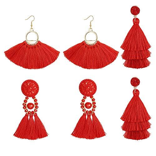 Red Kids Earring - LOLIAS 3 Pairs Long Thread Tassel Earrings for Women Girls Fashion Dangle Drop Earrings,Red