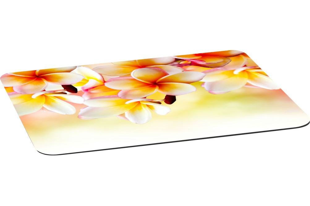 Rikki Knight Frangipani Tropical Spa Flower Large Non-Slip Fabric Top Table Place Mats with Rubber Backing (set of 4)