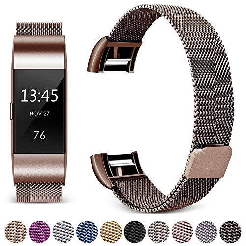 Hotodeal Compatible Fitbit Charge 2 Bands, Band Milanese Loop Stainless Steel Magnet Metal Replacement Bracelet Strap, Wristbands Accessories for Women Men,Coffee