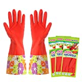 Kitchen Rubber Cleaning Gloves with Lining Household Thickening Polyurethane Waterproof Dishwashing Latex Glove Large 3 Pairs
