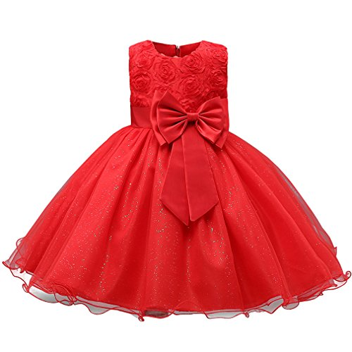 Niyage Girls Party Dress Princess Flowers Glitter Wedding Dresses Toddler Baby Pageant Tulle Tutus 12-18 M Red