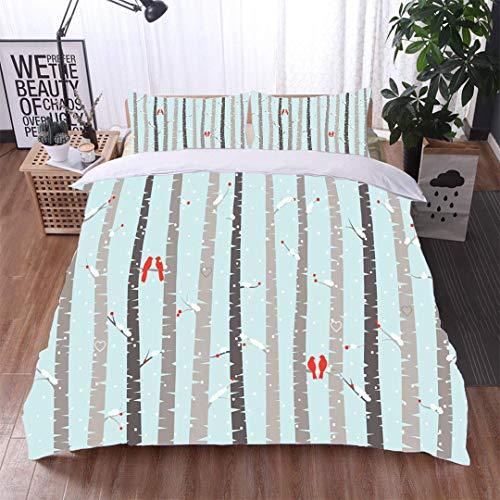 (VROSELV-HOME 3 PCS King Size Comforter Set,Vector Birch or Aspen Trees with Snow and Love Birds,Soft,Breathable,Hypoallergenic,with 1 Pillowcase for Kids Bedding)