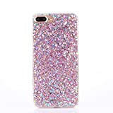 iPhone 7 Plus Case [With Free Tempered Glass Screen Protector],Mo-Beauty® Luxury Bling Shiny Sparkle Glitter Crystal [Slim Fit] Shockproof Shining Fashion Style Soft Flexible TPU Silicone Gel Protective Shell Case Cover For Apple iPhone 7 Plus (Pink)