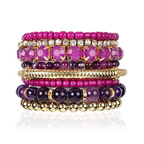 RIAH FASHION Multi Color Stretch Beaded Stackable Bracelets - Layering Bead Strand Statement Bangles (Natural Stone - Purple Amethyst, - Large Bracelet Rhinestone Stretch