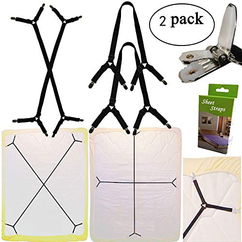 - Yaobabymu 2pcs Sheet Bed Suspenders Adjustable Crisscross Fitted Sheet Band Straps Grippers Adjustable Mattress Pad Duvet Cover Sheet Corner Holder Elastic Fasteners Clips Clippers
