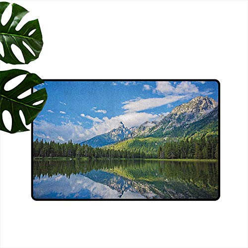 RenteriaDecor Landscape,Outdoor mats Pure Mountain Lake Scenery with Trees and Cloudy Sky Nature Inspired Print 20