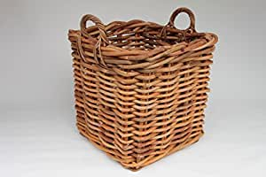 Ratán cesta esquina., madera cesta, cesta para leña, Cesta para plantas de ratán