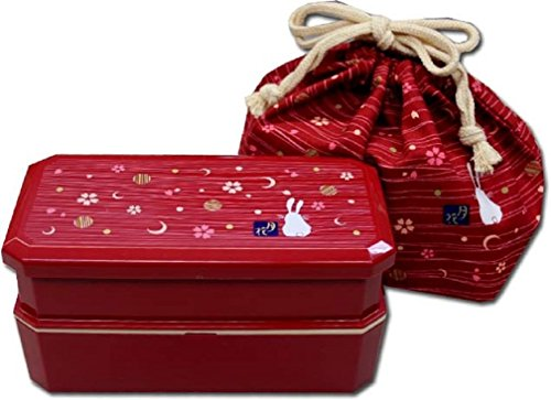 (Japanese Traditional Rabbit Moon Bento Box Set, Red)