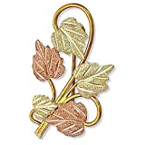 Diamond-Cut Heart Leaves Brooch Pin, 10k Yellow Gold, 12k Green and Rose Gold Black Hills Gold Motif