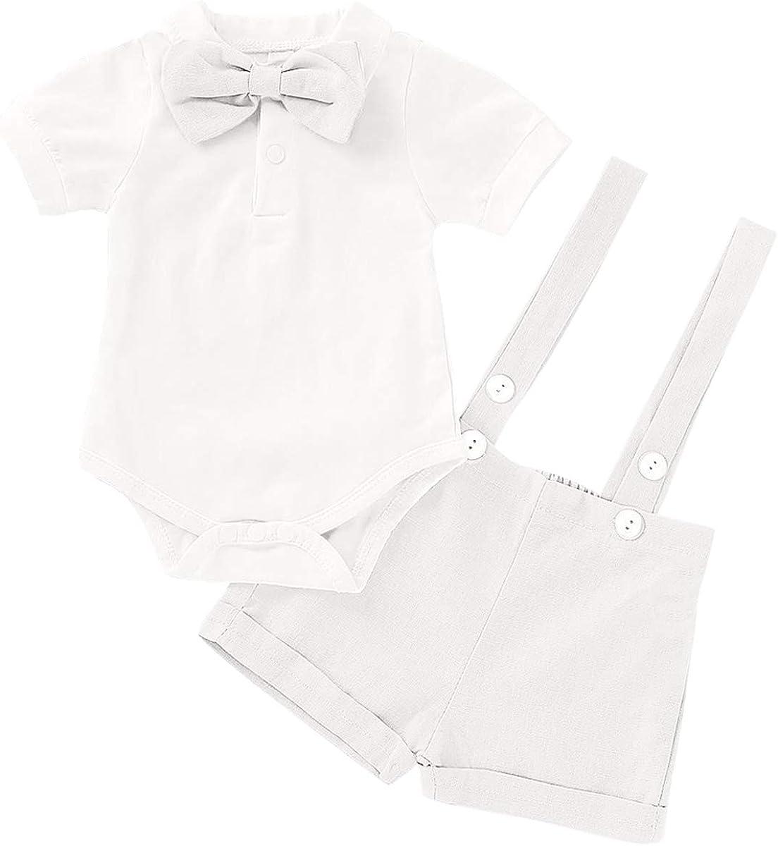 MYRISAM Baby Gentleman Wedding Tuxedo Outfit Romper Suspenders Bib Pant Overalls