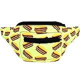 Hot Dogs Fanny Pack, Boho Chic Handmade w/Hidden Pocket (Neon Hot Dogs)
