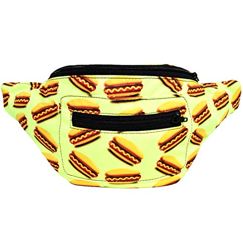 Hot Dogs Fanny Pack, Boho Chic Handmade w/Hidden Pocket (Neon Hot Dogs) ()